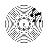 Music vinyl cartoon black and white