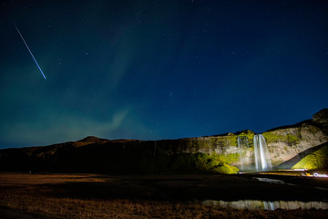 Night sky over Seljalandsfoss