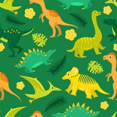 Seamless pattern with flat vector cartoon dinosaurs. © Татьяна Панькова