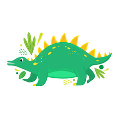Flat vector isolated cartoon dinosaur with abstract leaves.