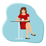 A girl with a cup of coffee at a table in a cafe. Flat vector illustration.
