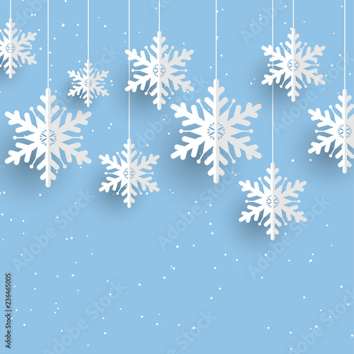 Christmas background with hanging snowflakes - 236465005