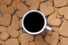 """Постер, картина, фотообои """"Cup of coffee with a gingerbread cookies"""""""