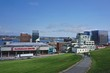 Halifax, Nova Scotia, Canada: View of Halifax from Citadel Hill; Scotiabank Centre (left), Old Town Clock, built in 1800 (right), and Halifax Harbor in the distance.