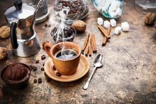 """Постер, картина, фотообои """"Crafting coffee in clay cup with bean cezve and chocolate cake"""""""