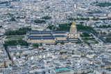 Paris panoramic air view from the Eiffel Tower. Travel around Paris. Sightseeing of France.