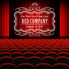 Premium red curtains stage