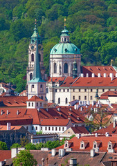 Czech Republic Prague - St. Nicolas Church and Rooftops of Lesse