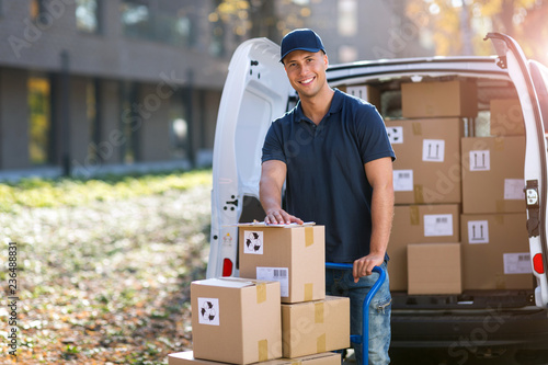 Zobacz obraz Delivery man standing in front of his van