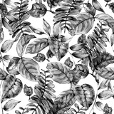 Watercolor seamless exotic pattern with tropical leaves, - 236489819