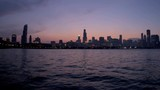 Low level illuminated view of city Skyscrapers Lake Michigan Sears Tower Chicago City Skyline at sunset Chicago USA RED EPIC - 236489857