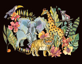 Watercolor jungle illustration, Natural Exotic Tropical Greeting Card with wild animals, flowers of orchids - 236490223