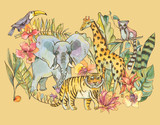 Watercolor jungle illustration, Natural Exotic Tropical Greeting Card with wild animals, flowers of orchids - 236490250
