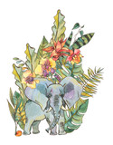 Watercolor jungle illustration, Natural Exotic Tropical Greeting Card with leaves, flowers,nd elephant - 236490411