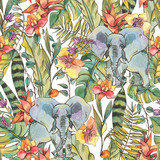 Watercolor jungle seamless pattern, Flowers of orchids, liana and elephant - 236490422