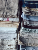Stack of napkins, tablecloth and fabrics