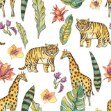 Watercolor Seamless Pattern with flowers of orchids, monstera, palm, liana, tiger, giraffe - 236490809