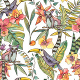 Watercolorl Exotic Tropical Seamless Pattern with orchids, lemur and toucan - 236490885