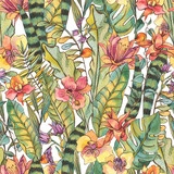 Watercolor seamless pattern, Exotic natural vintage blooming orchid flowers - 236491024