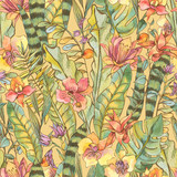 Watercolor seamless pattern, Exotic natural vintage blooming orchid flowers - 236491044