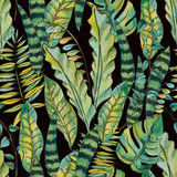 Watercolor Seamless Exotic Background with Tropical Leaves - 236491251