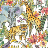 Watercolor jungle seamless pattern, Natural Exotic Tropical texture with animals, flowers of orchids - 236491427