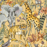 Watercolor jungle seamless pattern, Natural Exotic Tropical texture with animals, flowers of orchids - 236491463