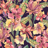 Watercolor seamless pattern, Exotic natural vintage blooming orchid flowers - 236491652