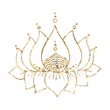 Gold lotus silhouette isolated on white background