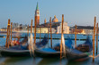 gondolas in Venice in the background it can be seen the San Giorgio maggiore's church and Bell tower