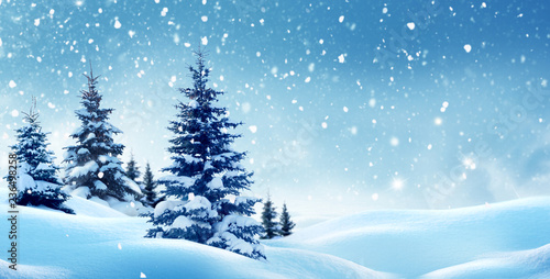 Leinwanddruck Bild Christmas background with snow.Winter night landscape. Happy new year greeting card with copy-space.