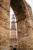 Qutub Minar, 73-meter tall tapering tower of five storeys, started construction by Qutab-Ud-Din-Aibak, founder of the Delhi Sultanate