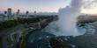 Beautiful aerial panoramic view of Niagara Falls during a vibrant sunrise. Located near Toronto, Ontario, Canada.
