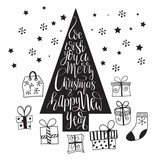Vector Fir tree with   presents - 236504897