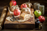 Closeup of rustic take away apple pie made of fruits - 236506429