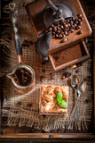 Top view of rustic cherry pie with pot boiled coffee - 236506867