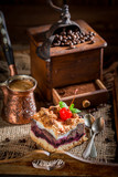 Sweet and tasty cherry pie with pot boiled coffee - 236506891