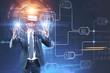 Leinwanddruck Bild - Man in vr glasses, business plan interface