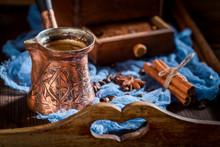 """Постер, картина, фотообои """"Closeup of aromatic coffee, old grinder and pot boiled coffee"""""""