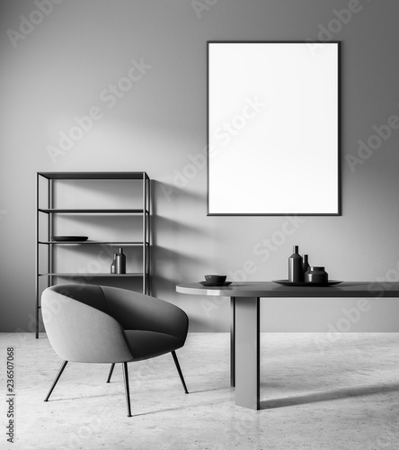 Gray home office interior, poster - 236507068