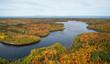 Aerial panoramic view of a beautiful Canadian Landscape during fall color season. Taken near Belledune, New Brunswick, Canada.