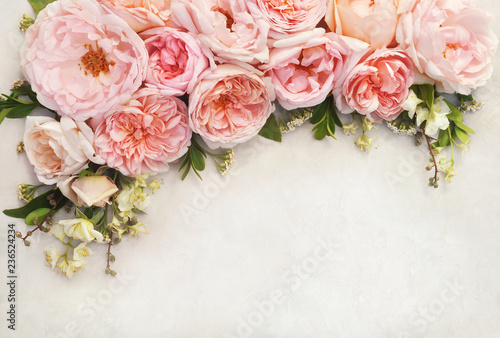 Summer blossoming delicate rose blooming flowers festive background, pastel and soft bouquet floral card, toned