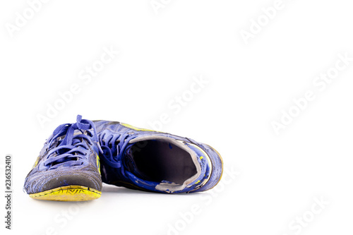 9b7108e5634 old football shoes damaged on white background futsal sportware object  isolated