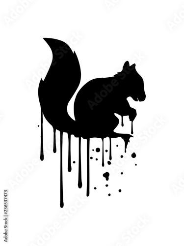 graffiti tropfen spray stempel schwarz eichhörnchen nagetier süß niedlich sitzend comic cartoon design grauhörchen klein baum wald herbst nüsse clipart