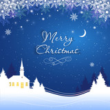 Magic Merry Christmas night for greeting card. Vector illustration. - 236538654