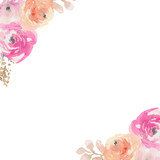 Watercolor Flower Frame Background
