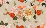 Rose seamless pattern  retro styles