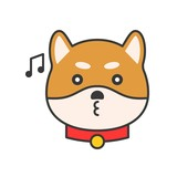 shiba inu emoticon vector, filled outline design