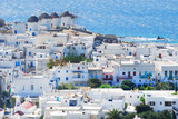 view of Mykonos greece with the recognizabale 5 windmills