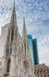 St. Patricks Cathedral and skyscrapers in New York City, USA